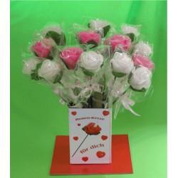 Rosenkerzen rosa/weiss