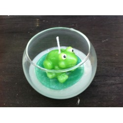 Frosch-Kerze im Rundglas